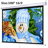 Projector Screen, Auledio Portable 100'' Diagonal 16:9 HD Manual Pull Down Projection Screens with Auto Lock - Suitable for HDTV / Sports / Movies / Presentations