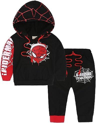 Pants 2Pcs Outfits Sets Kids Boys Long Sleeve Spiderman Hoodie Tops Sweatshirt