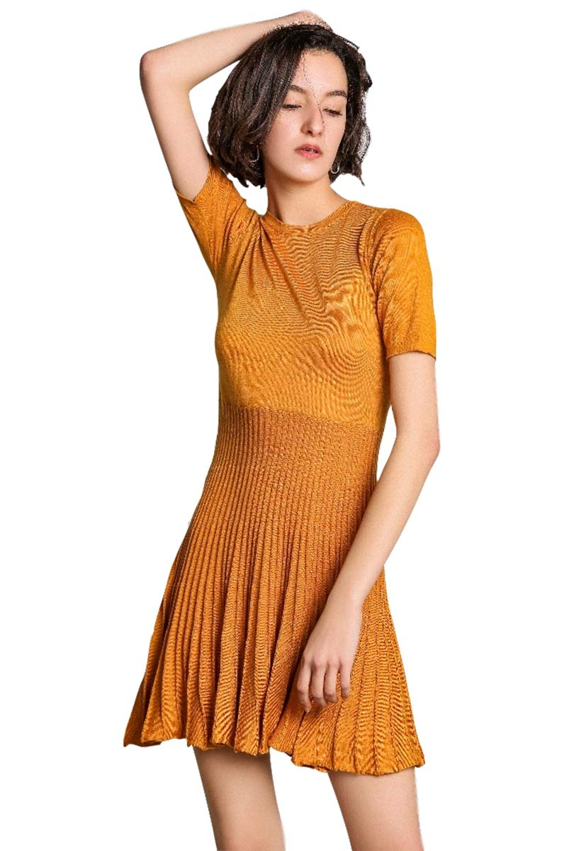 RanRui Pleated Dress Women's Sweater Dresses Knitted Cashmere Short Sleeve Crewneck high Waist Cocktail Dresses (L, Orange)