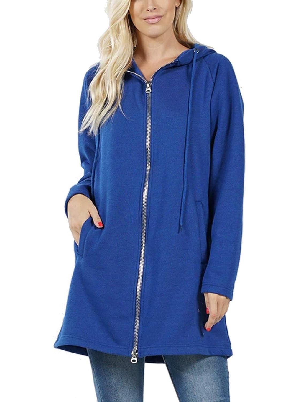 MixMatchy Womens Hoodie Oversized Zip Up Long Fleece Sweat Jacket