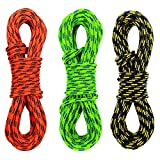 GM CLIMBING Pack of 3 Double Braid 3mm (1/8in) Low Stretch 400lb Strength Accessory Cord for Outdoor Activities Tent Tarp Hammock Guyline Rigging Hunting Backpacking (Black Green Orange, 20ft)