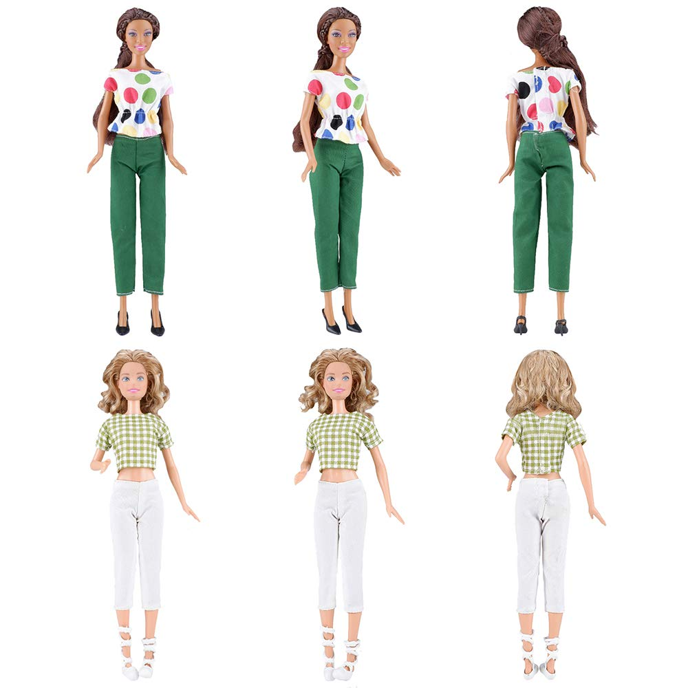 E-TING 5 Set Doll Clothes Casual Wear Outfit 5 Tops 5 Trousers Pants for 11.5″ Girl Doll Gift (Style B)