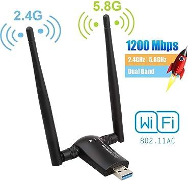 Flybiz Adaptador WiFi USB 3.0 Adaptador Dual Band (5.8GHz 866Mbps / 2.4GHz 300Mbps) 802.11ac Dongle WiFi Inalámbrico, 2 Antenas WiFi de 5dBi, para ...