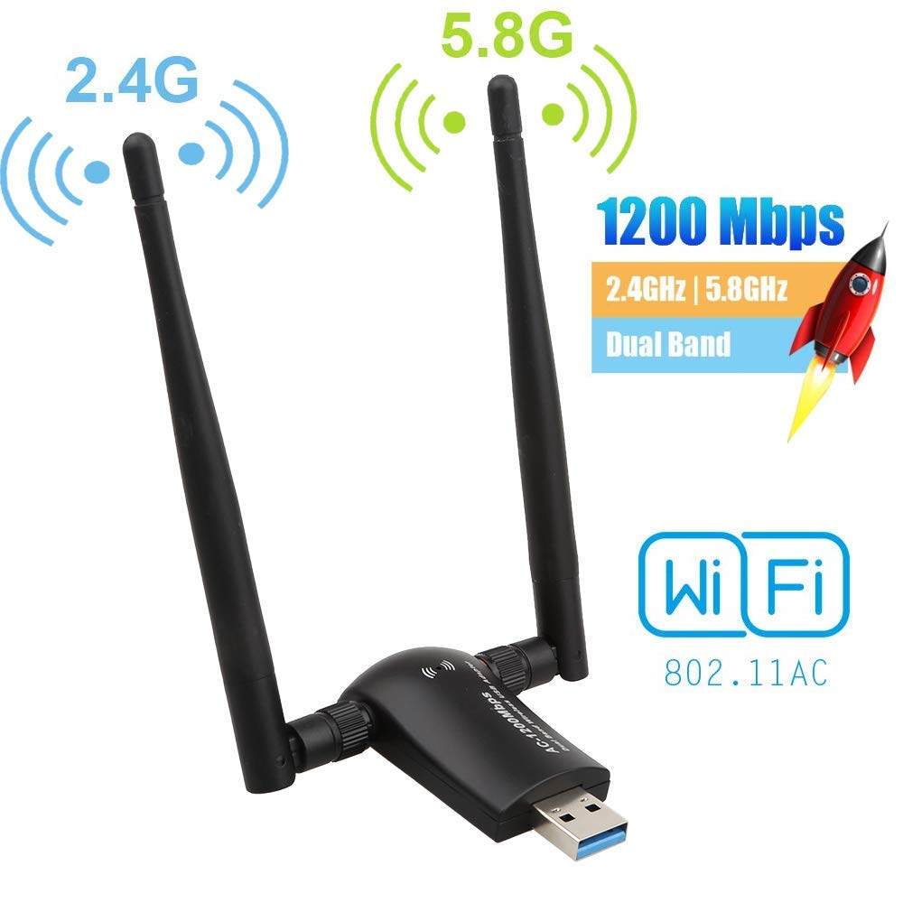 1200Mbps WiFi Adapter Network Adapter with USB 3.0 Cradle and Extension Cable for PC Desktop Laptop Support Windows 10//8//7 MacOS 5.8G//867Mbps+2.4G//300Mbps Dual Band USB WiFi Dongle