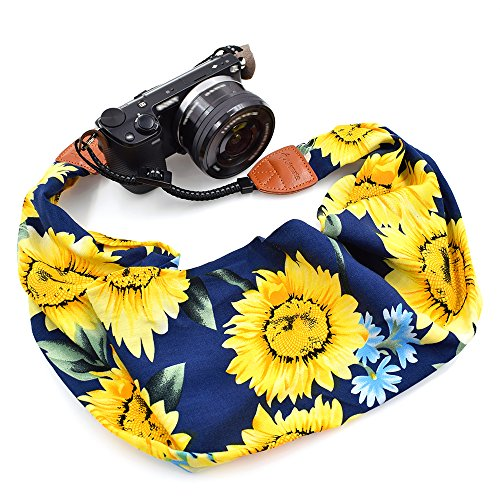LIFEMATE Scarf Camera Strap,DSLR Camera Strap Universal Neck Strap,Fabric Bohemia Floral Scarf Camera Strap (Sunflowers in Dark Blue)