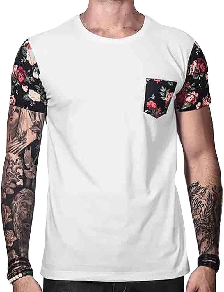Camiseta de Verano para Hombres, Estampado de Flores de la Vendimia Camisa Patchwork con Bolsillo Informal Cuello Redondo Verano Blusa Casual Tops: Amazon.es: Ropa y accesorios
