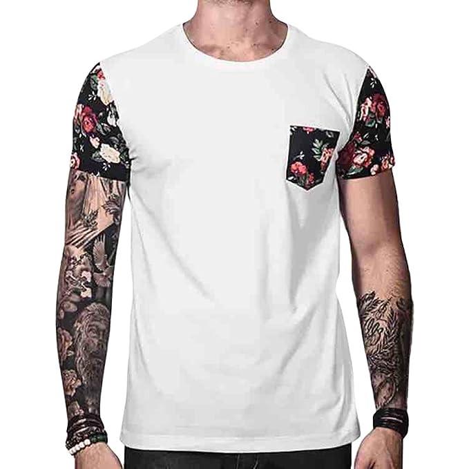 Hombre Camiseta con Manga Corta - Moda Verano Casual Blusa Estampado Floral Cuello Redondo T-Shirts Camiseta Tallas Grandes: Amazon.es: Ropa y accesorios