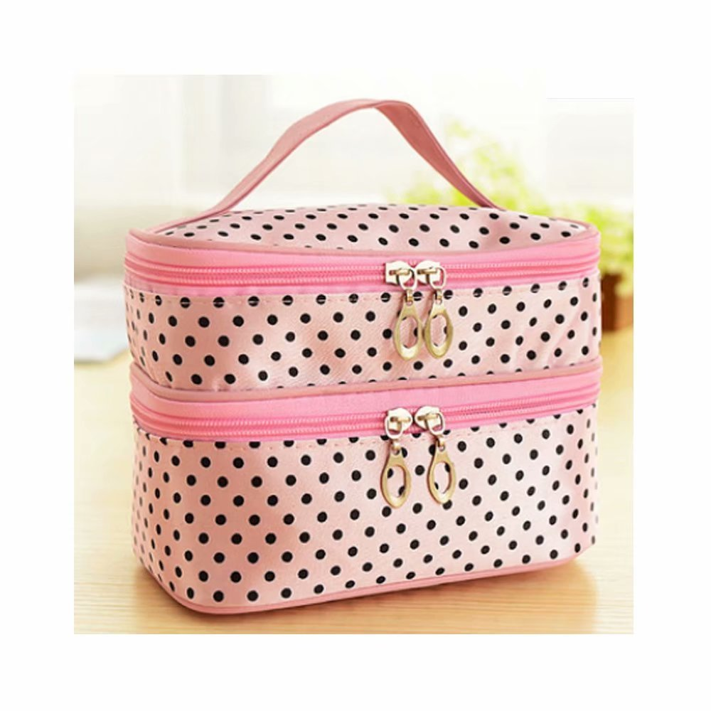 d2cdb2108a81 JOVANA Double Layer Cosmetic Bag Black with White Dot Travel ...