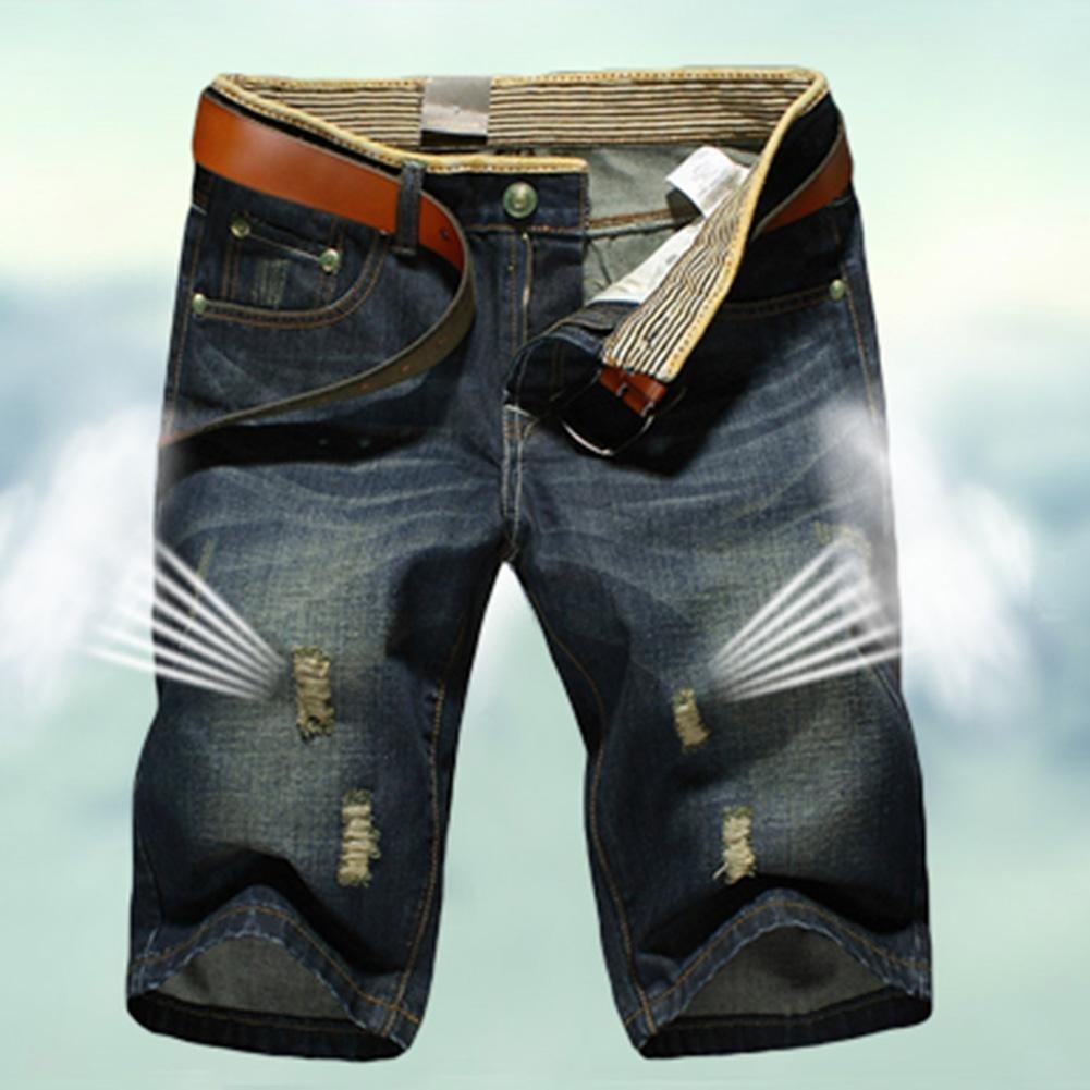AFfeco Men Short Jeans Fashion Summer Ripped Casual Elastic Shorts Denim Pants/34