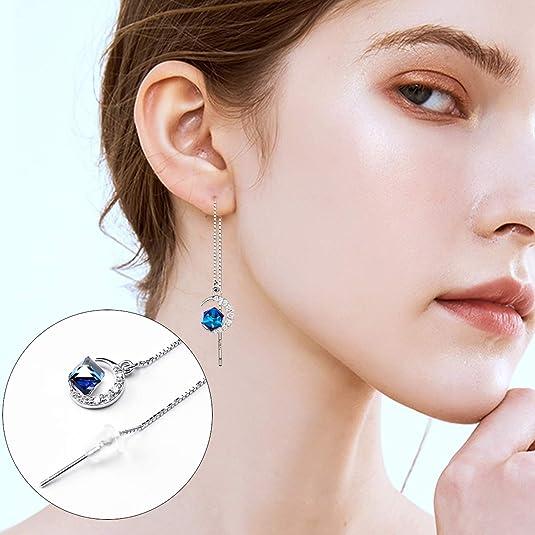 925 Sterling Silver Dangle Boucles d/'oreilles Magie Sorcière Lune Pendentif Mariée Oreille Bijoux