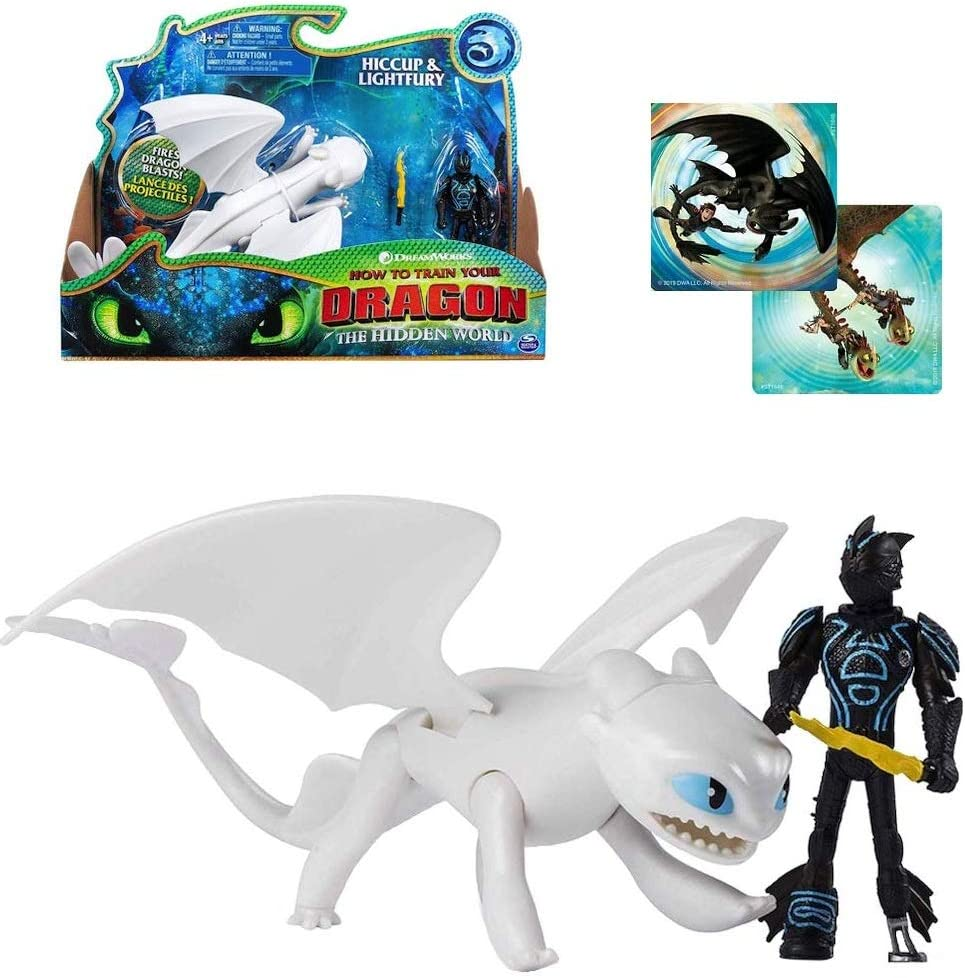 DreamWorks Dragons Lightfury and Hiccup Dragon with Armored Viking Figure