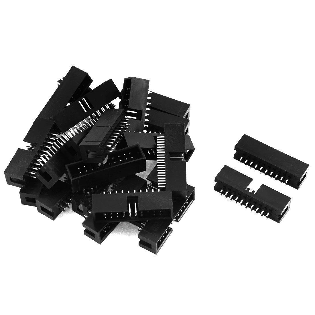 Sourcingmap/® 22stk 2x10 20-Pin 2,54mm Buchsen Pitch Gerade Box Kopf Stecker IDC m/ännlich de