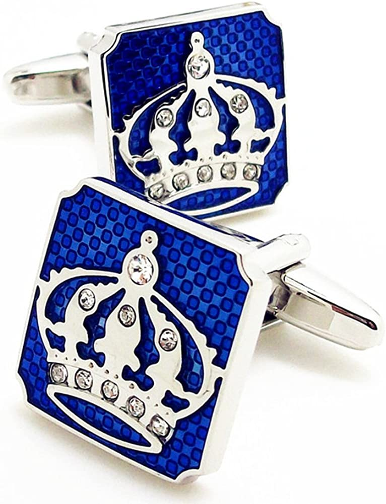 UToy Covink Crown Cufflinks with a Presentation Gift Box Fashion Cufflinks Crown Valentines-Day Cuff Buttons