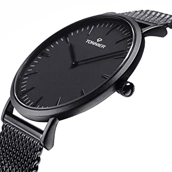b5822136fb5 Amazon.com  Tonnier Black Stainless Steel Slim Men Watch Quartz ...
