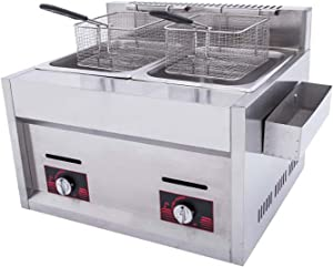 Wgwioo Gas Deep Fryer, Commercial Frying Pan French Fries Machine Fryer, Gas Countertop Deep Fryer with 2 Frying Baskets (Liquefied Gas)