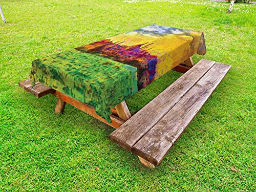 (Ambesonne Impressionist Outdoor Tablecloth, Landscape Painting of Istanbul City Shoreline Famous Bosporus, Decorative Washable Picnic Table Cloth, 58