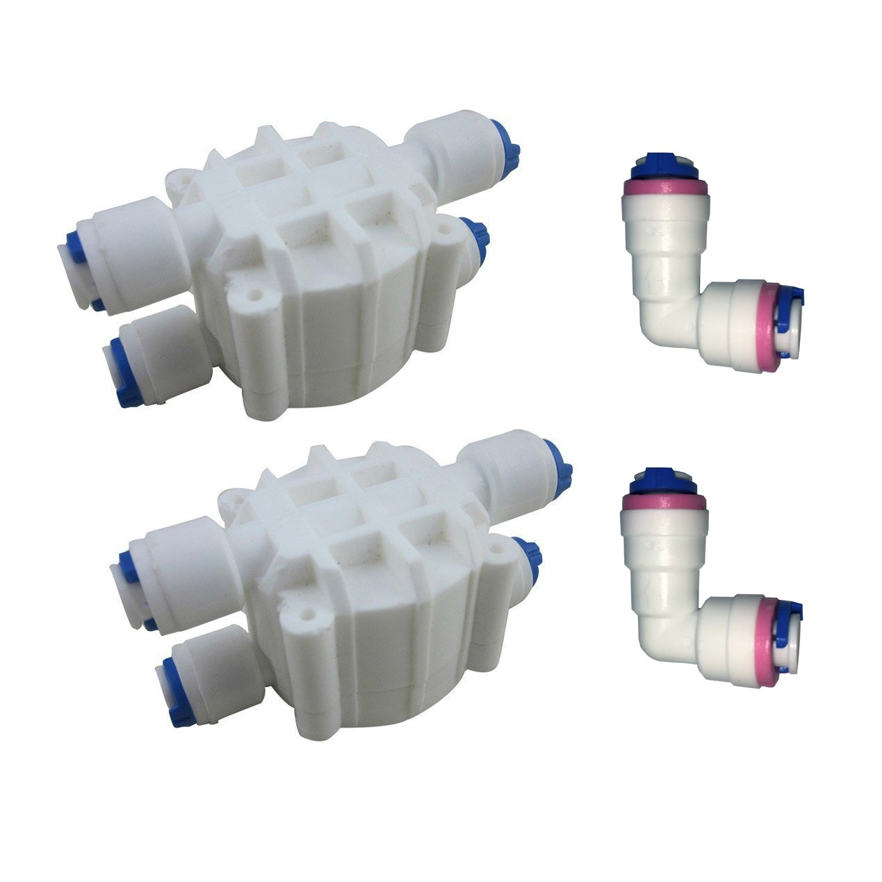 Malida 1/4 Inch tube Automatic Shut Off Valve Push to Quick Connect Fittings For Reverse Osmosis Water Purifiers Filters (4 Way Shut-Off Valve)