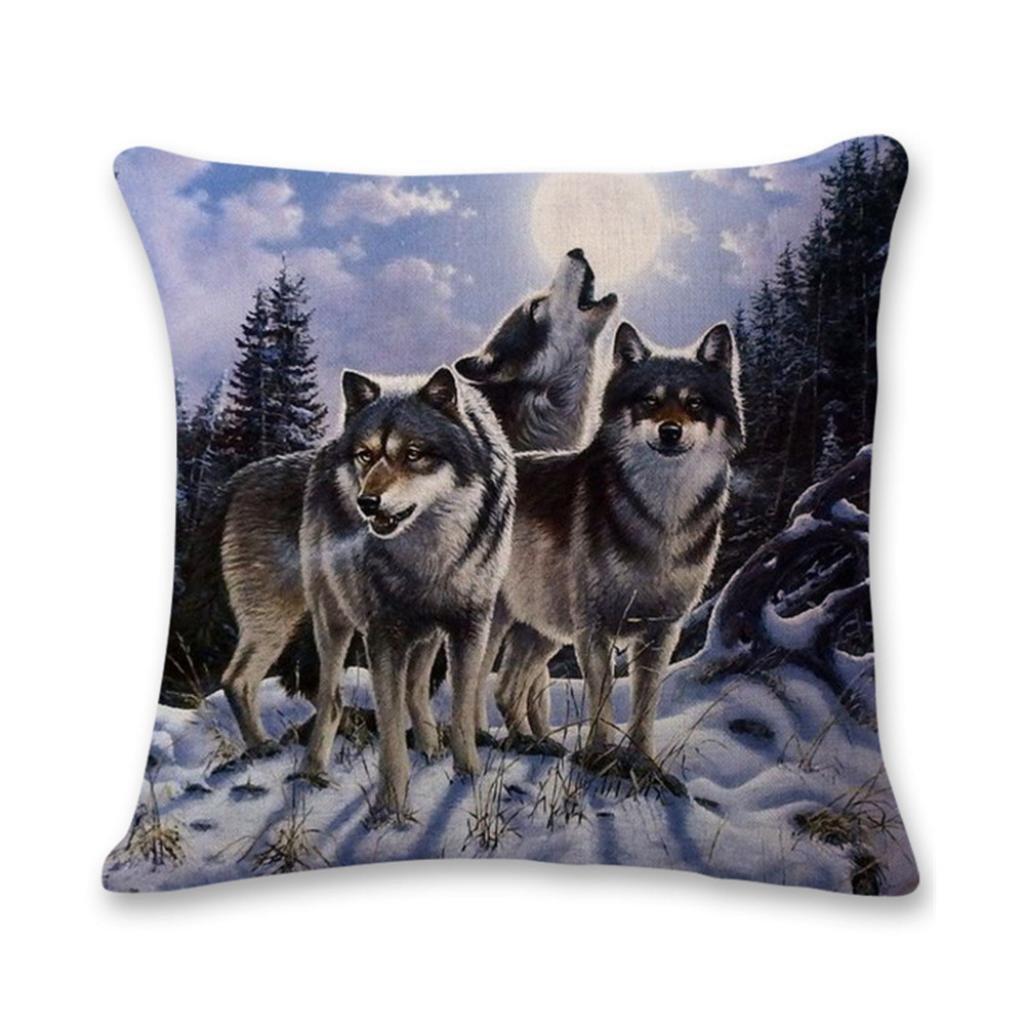Highpot Various of Wild 3D Wolf Prints Square Throw Pillow Case Hidden Zip Cushion Cover Sofa Car Home Decorative A