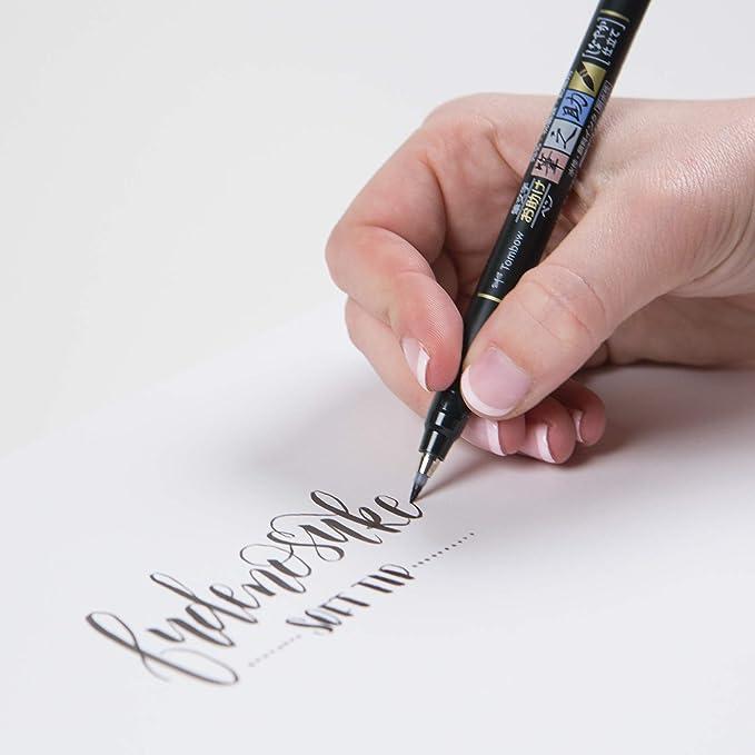 Tombow WS-BS Fudenosuke - Pluma escobilla, punta blanda, tinta negra: Amazon.es: Oficina y papelería