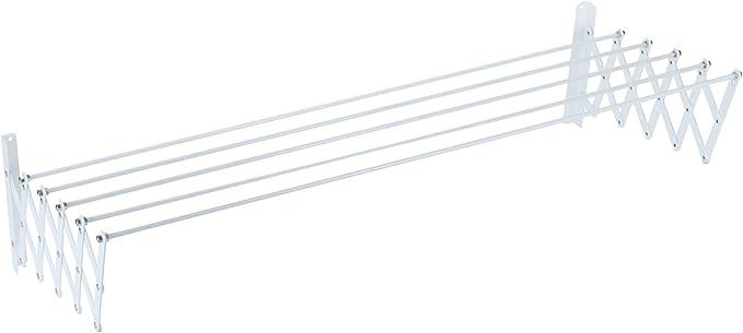 Sauvic 89808 - Tendedero Pared Extensible, Acero con Recubrimiento Plástico Anticorrosivo, color blanco, 150 x 78 x 26,5 cm