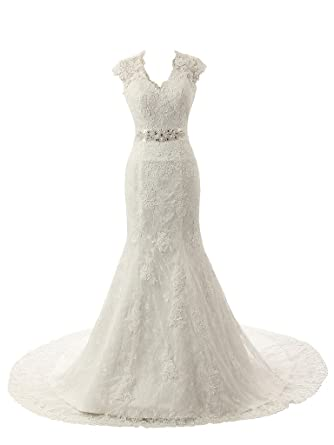 Ubridal Real Pictures Embroidery Lace Mermaid Court Wedding Dresses Bridal Gowns Ivory 2