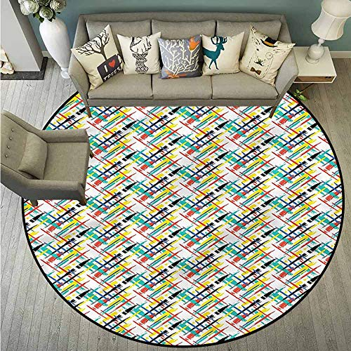 (Bedroom Rugs,Paint,Brush Strokes Intersecting,Machine-Washable/Non-Slip,3'7