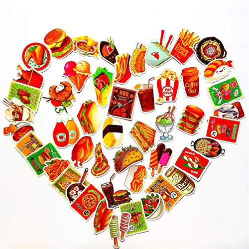 Water Bottle Stickers (50Pcs), Cute Cool Fashion Food Drink Hamburger Ice Cream Chips Pizza Coffee Beer Coke Cheese Soup Vinyl Stickers Bumper Decals for Laptop Refrigerator Skateboard Luggagecase
