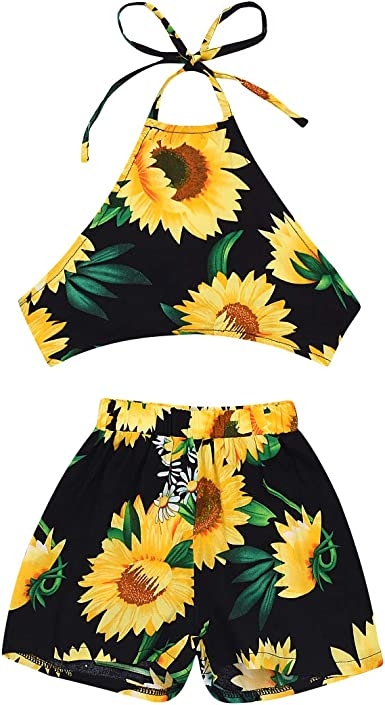 US Toddler Baby Girls Sunflower Clothes Halter Tops+Shorts 2PCS Outfits Sunsuit