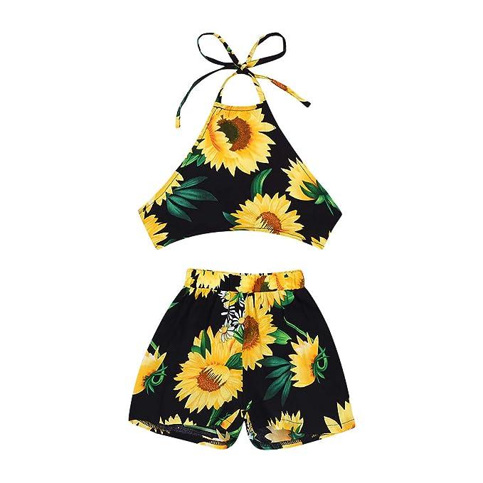 51f3f8f5b3 Kids Toddler Little Girls Shorts Outfits Set Sunflower Sling Backless  Shirts+ Shorts Beachwear Sunsuit Summer Clothes