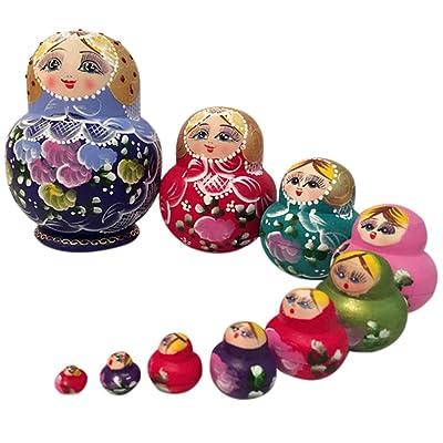 Symboat 10 Pcs/set En Bois Cadeaux Nidification Poupées Matryoshka Babushka Russe Fille Peint À La Main Poupée Jouets Pour Enfants Enfants