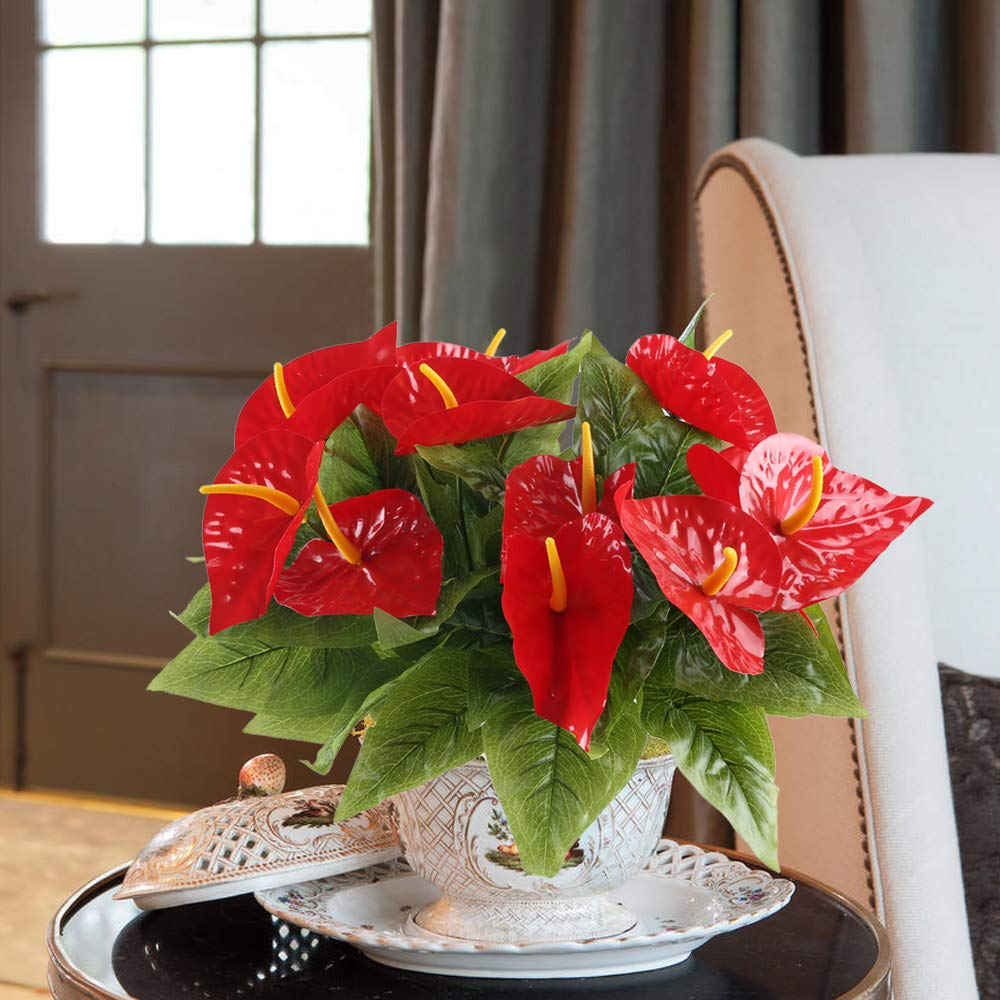 HO2NLE 4PCS Fake Anthurium Artificial Flowers Bouquet Real Touch PU Faux Floral Shrubs Bundle Indoor Outdoor Home Garden Parties Wedding Simulation Decor Red