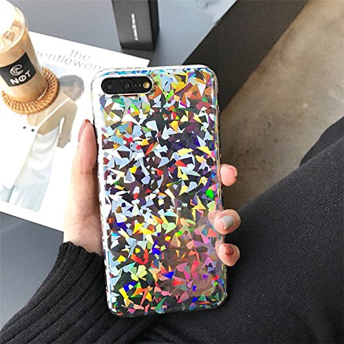 premium selection 34faf 3dd16 iPhone XS and iPhone X (iPhone 10) Case, Psychedelic Holographic Sparkle  Bling Glitter Shiny Designer Cover with Laser Pattern, [Extra Thin Soft TPU  ...