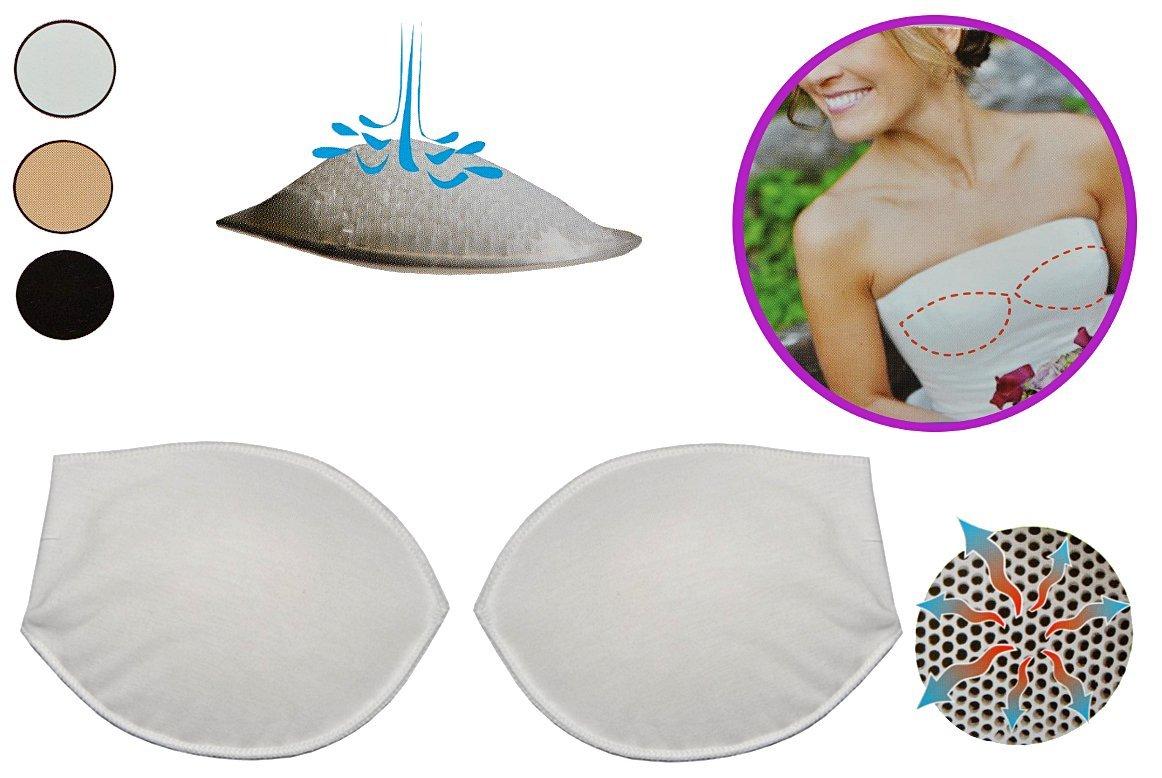 alles-meine.de GmbH 2 er Set - BH Einlagen / Schalen aus Silikon & mit Push up Effekt - Brusteinlage als Einlage - Größe S - in Weiß - mit Baumwoll Überzug