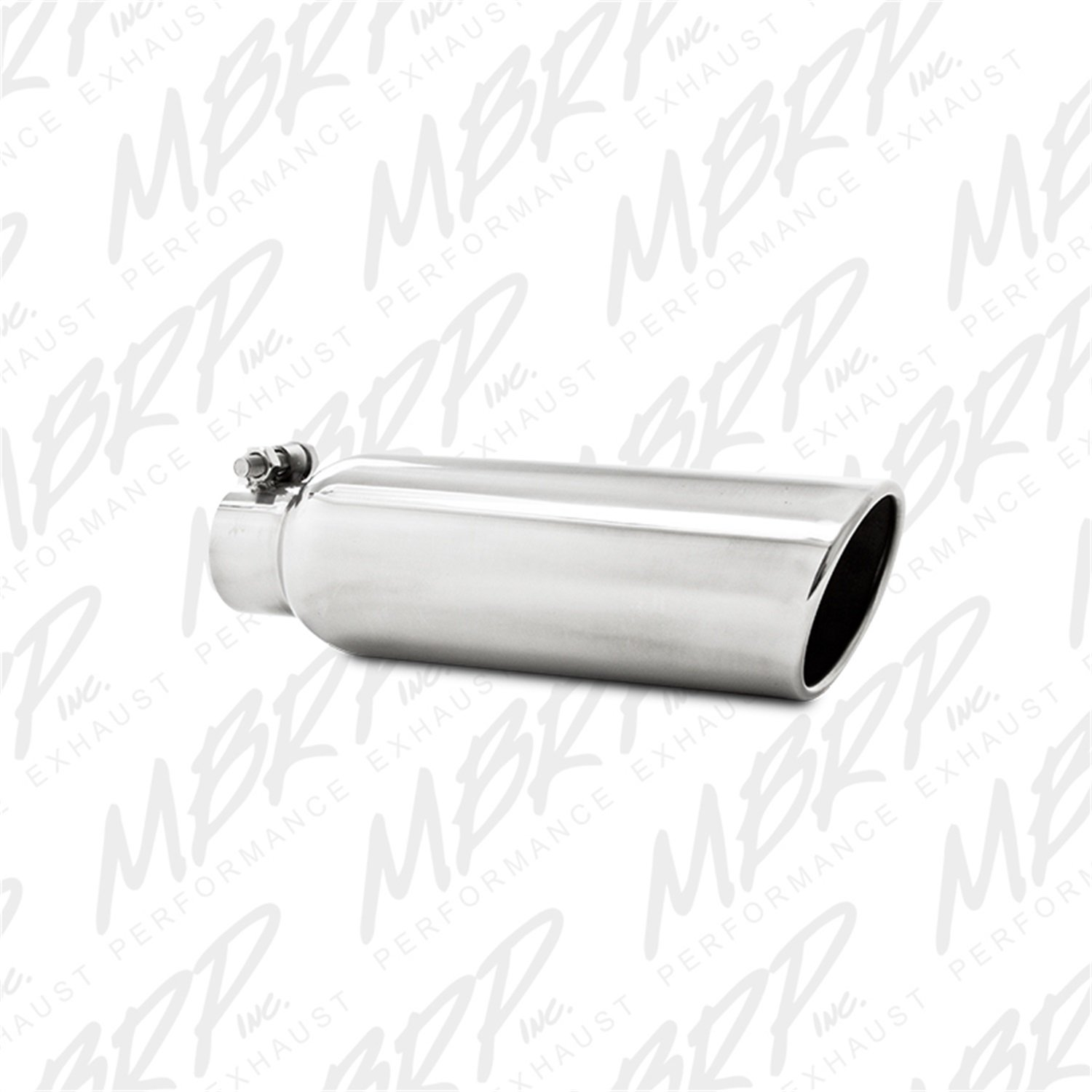 MBRP T5147 3.5' O.D. 2.25' Inlet 12' Length T304 Stainless Steel Angled Cut Rolled End Clampless Exhaust Tip
