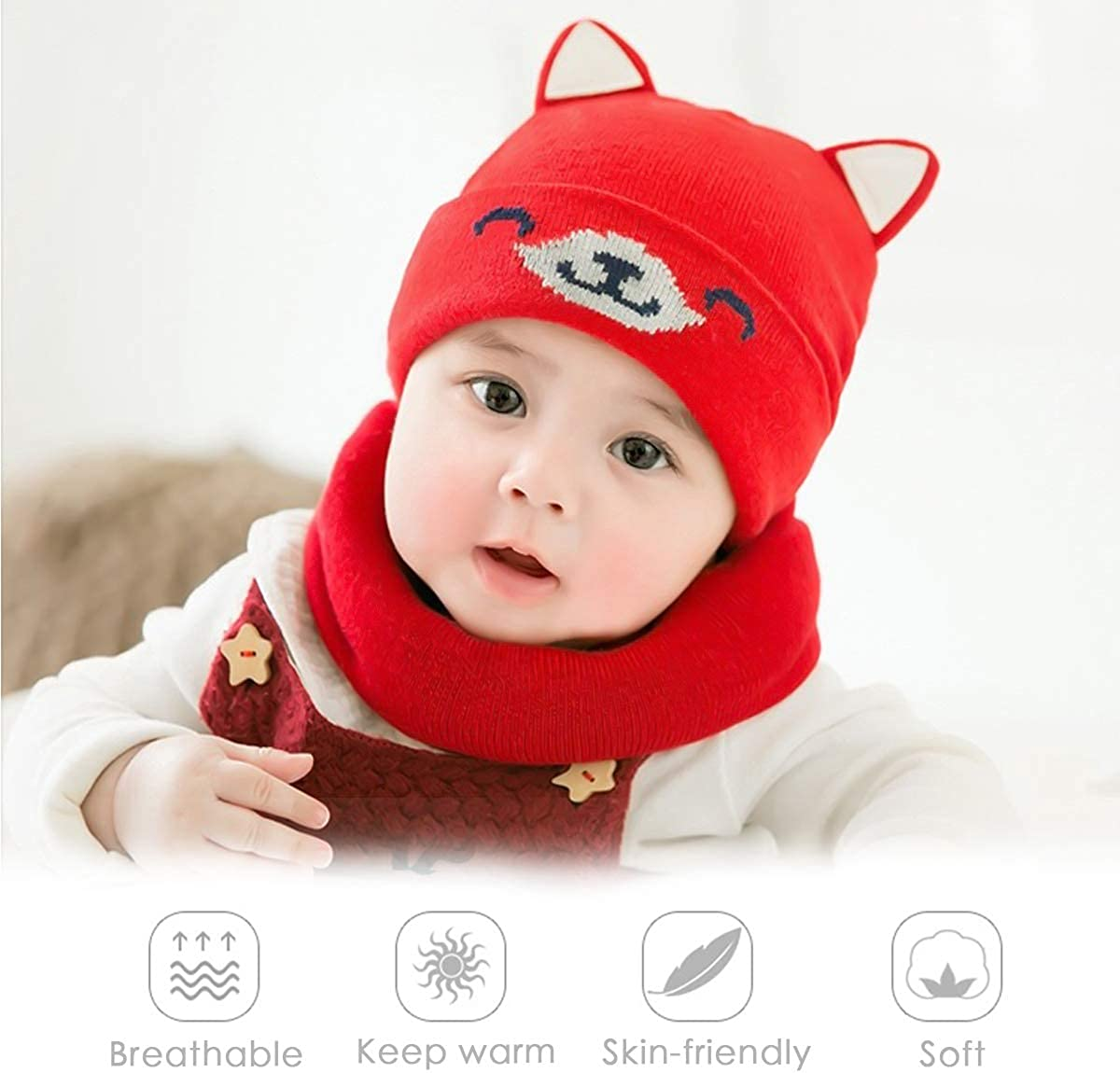 ZONSUSE Cappello del Bambino Set Bambino Cappello in Cotone per Berretti Cappelli Invernali Lavorati a Maglia Stai al Caldo Cappello Inverno Autunno e Inverno Cappello da Orecchio dei Animati
