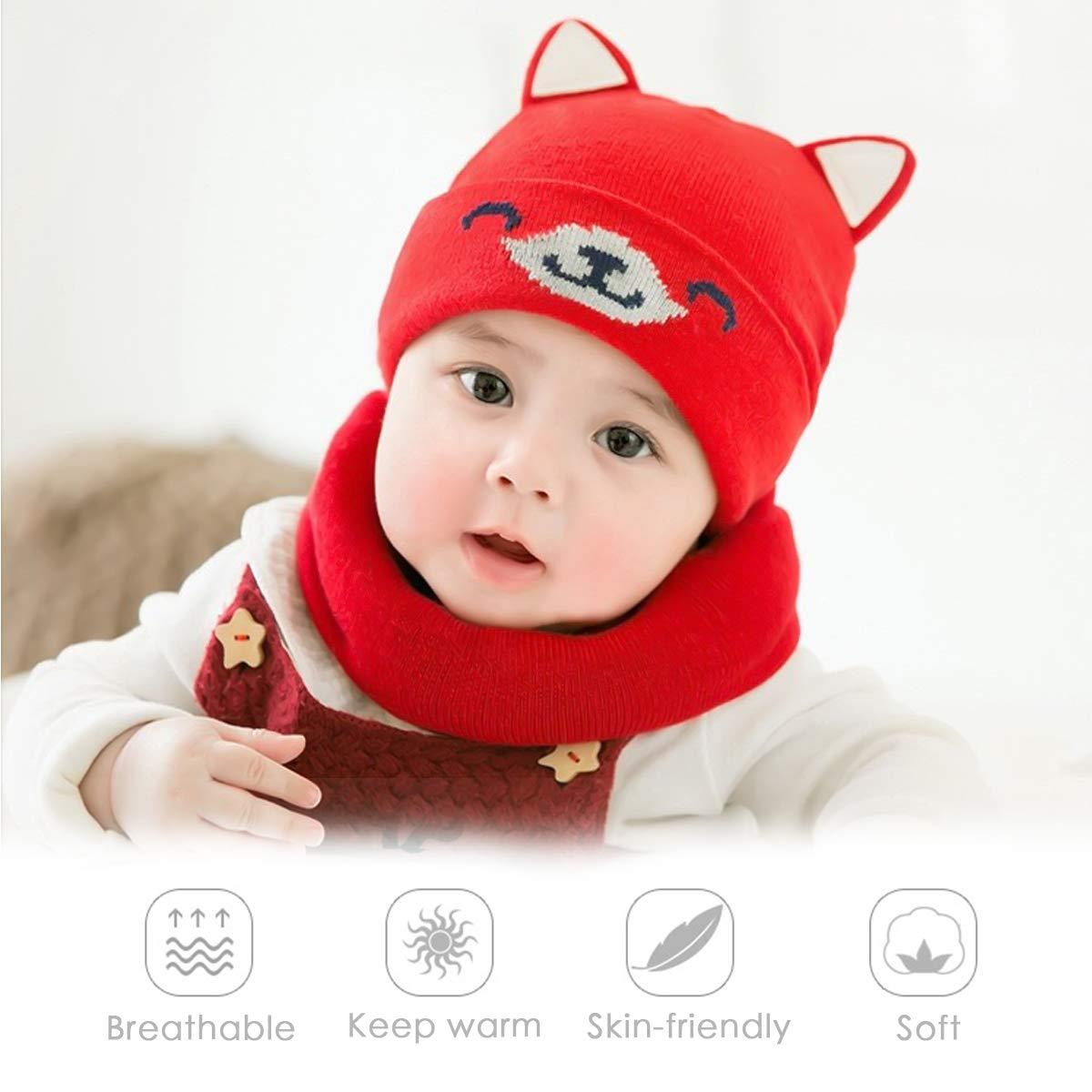 ZONSUSE Chapeau B/éb/é Bonnet B/éb/é Echarpe Set Bonnet Chapeau Tricot/é Chaud Bonnet dhiver Chapeau Convient pour b/éb/é de 3 /à 22 Mois