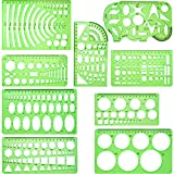 9 Pieces Drawings Templates Technical Stencils Measuring Geometric Rulers Plastic Draft Rulers for School Office Engineering Supplies, Clear Green