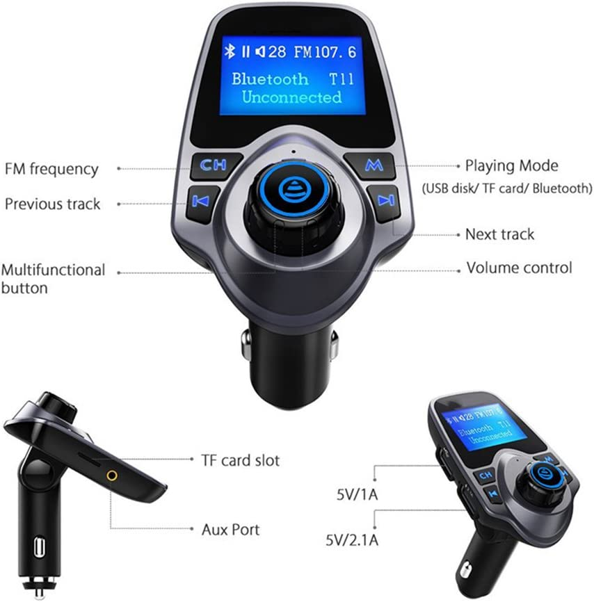 T11 Bluetooth FM Transmitter Upgraded Version Hands-free Calling EINCAR Car MP3 Player Kit with Multi Music Play Modes FM Transmitter 1.44 Inch Screen Display USB Car Charger