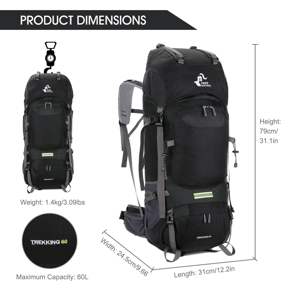 fddff877d1 Amazon.com   Free Knight 60L Hiking Backpack Mountaineering Camping Trekking  Travel Bag Large Capacity Rucksack Internal Frame Water Resistant for  Outdoor