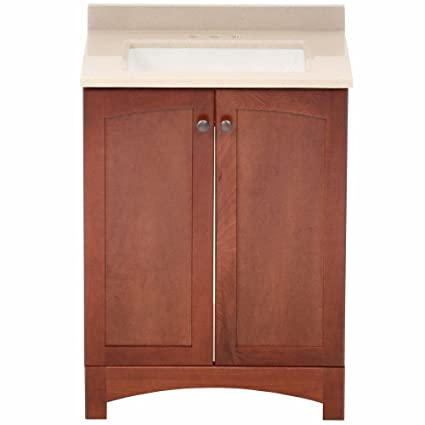 Glacier Bay Melborn 24.5 In. W Bath Vanity In Chestnut With Solid Surface  Technology Vanity