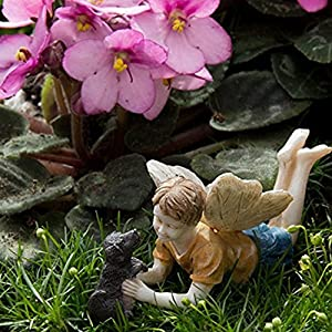 Miniature Fairy Garden Limited Edition Boy Fairy With Dog Ross And Winston Model 74 Homegarden Outdoor Store