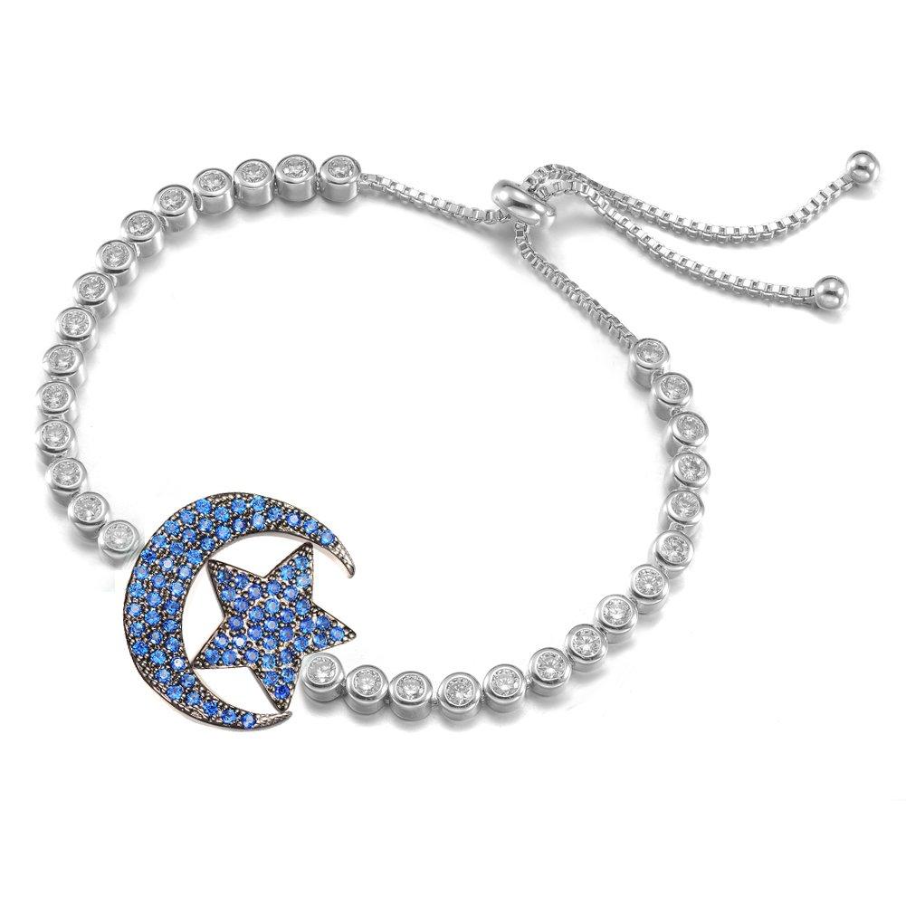 KIVN Fashion Jewelry Pave CZ Cubic Zirconia Adjustable Bolo Crescent Moon Star Bridal Bracelets for Women