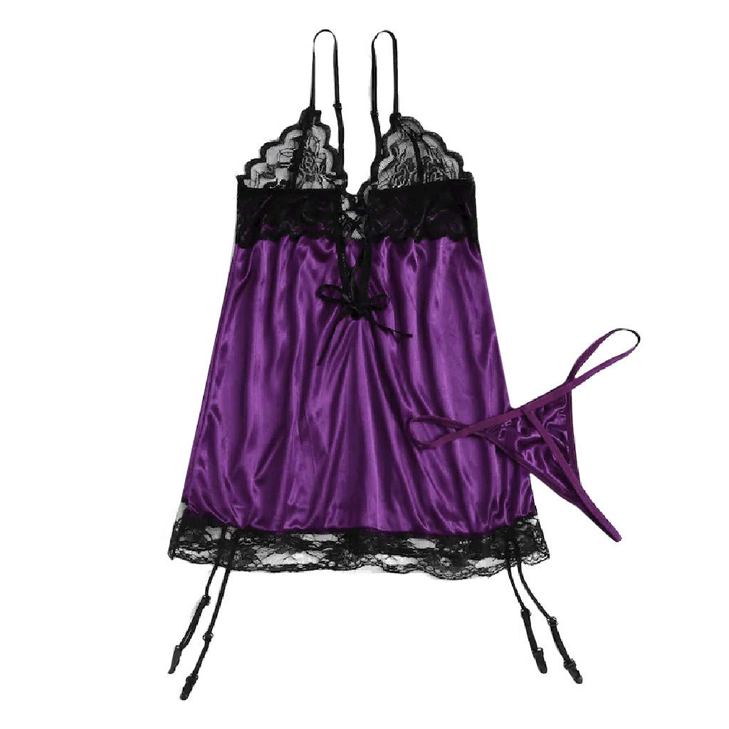 Summer Womens Deep V Neck Lace Tempting Teddy Delicate Scalloped Eyelash Satin Dress Lingerie with Garter (Purple, M)