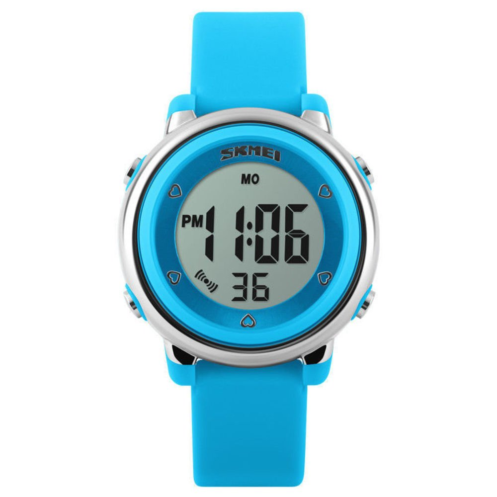 Kids Digital Sport Watch, Boys and Girls Sports Outdoor Watches, Girls LED Waterproof Electrical Watch with Alarm Children Stopwatch (Blue)