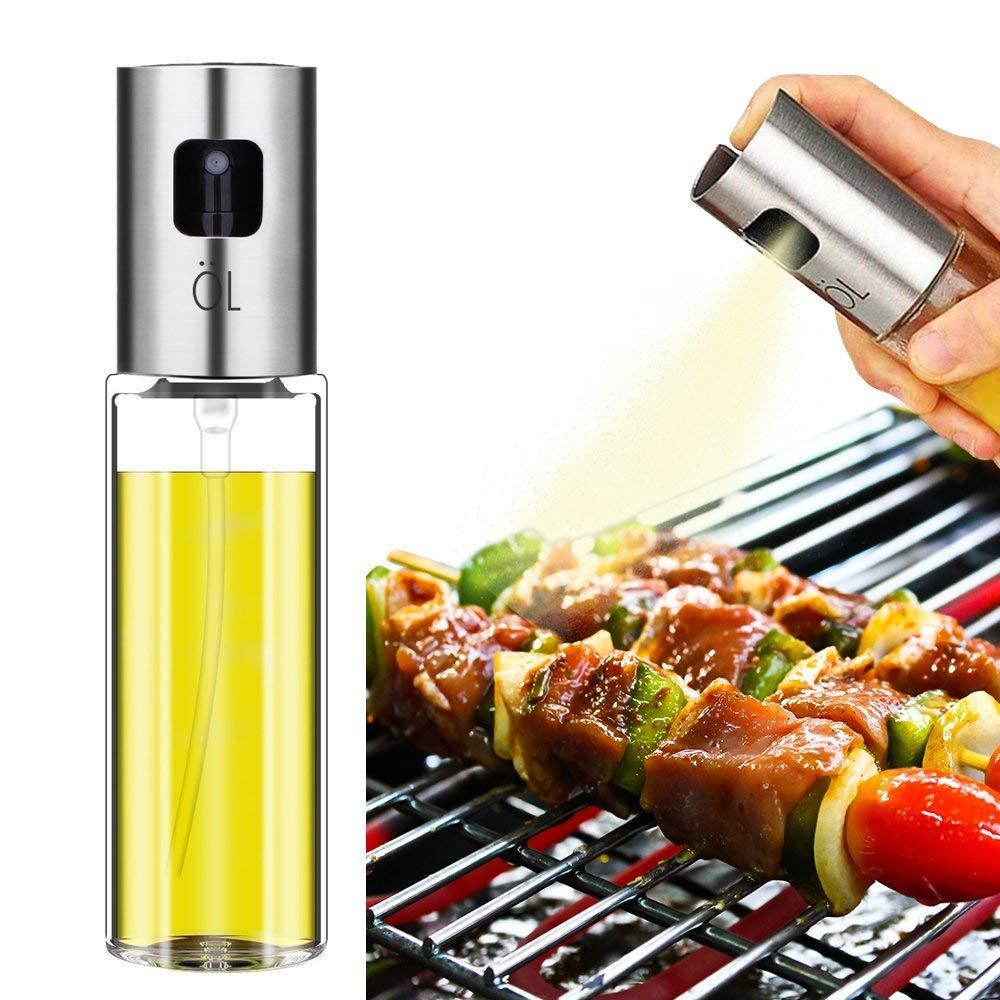 Olive Oil Sprayer, Stainless Steel Oil Spray Bottle Vinager Oil Dispenser Sprayer for Cooking BBQ Baking Roasting Grilling Frying