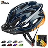 JBM international JBM Adult Cycling Bike Helmet Specialized for Mens Womens Safety Protection Red/Blue/Yellow (Dark Blue & Orange, Adult)