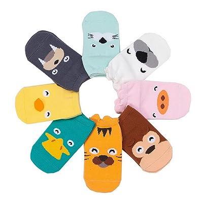 ACMEDE - 8 Paires de Unisexe Chaussettes Animaux Enfant Bébé Fille Garçons En Coton Mignonnes Respirantes Antidérapantes - Style Aléatoire