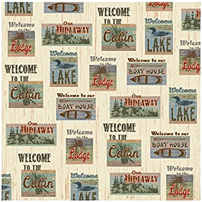 TreasureGurus LLC Welcome To The Lake Cabin 70 Fabric Bath Shower Curtain