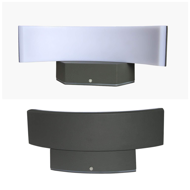 bianco caldo Topmo-plus Spot da parete a LED da 24W lampade esterne Applique in alluminio//PC IP65 impermeabile//Osram SMD lampadina Terrazza//Giardino//Corridoio 27 cm grigio