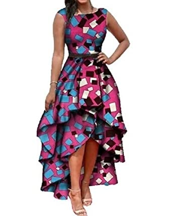 7be2be889ec Amazon.com  Daomumen Womens African Dashiki Print Maxi Sleeveless High Low  Cocktail Party Fold Ruffle Dress  Clothing